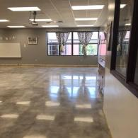 This is a polished concrete job we completed. It is a mechanical diamond polish with no topical coating.